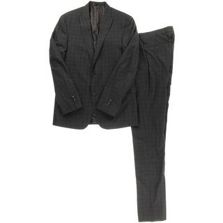 Kenneth Cole Reaction Mens Glen Plaid Peak Collar Two-Button Suit