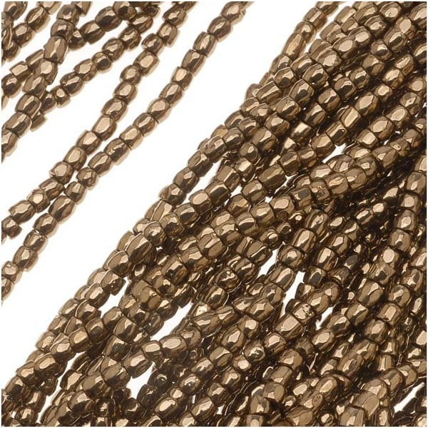 Czech Tri-Cut Seed Beads 10/0 'Gold Bronze' (1 Strand/360 Beads)