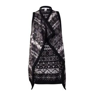 KAREN by Karen Kane Women's Reversible Draped Vest (XS, Gray)