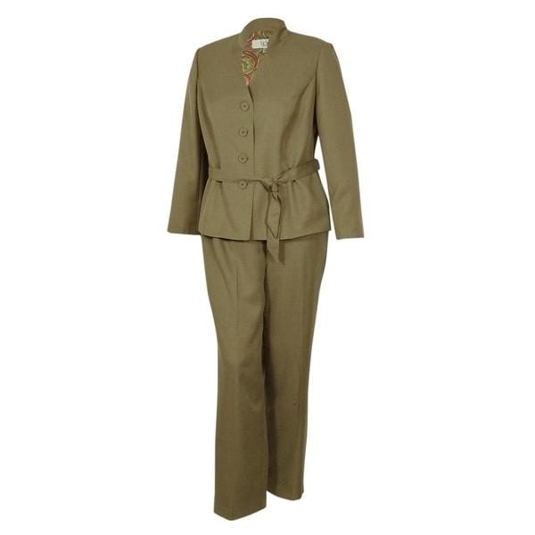Shop Le Suit Women S Business Stand Collar Suit Pant Set 16w Khaki
