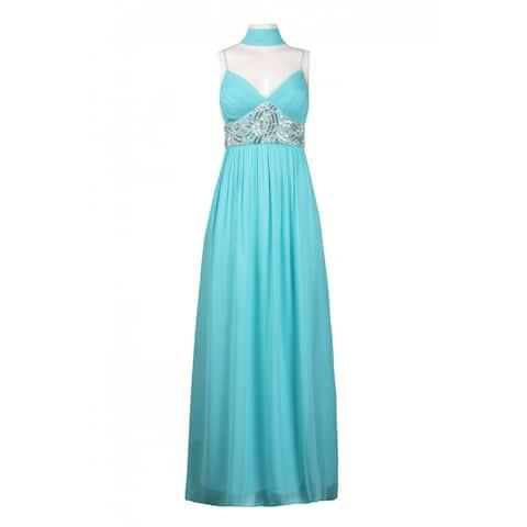 JS Collections Spaghetti Strap Beaded Dress, Aqua, 12