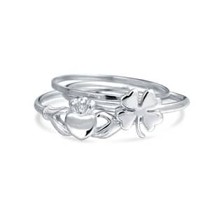 Silver Lucky Irish Clover Claddagh Stackable Midi Ring Set|https://ak1.ostkcdn.com/images/products/is/images/direct/148b9bf8430aa835686e10ce46ca856bc3244646/Silver-Lucky-Irish-Clover-Claddagh-Stackable-Midi-Ring-Set.jpg?impolicy=medium