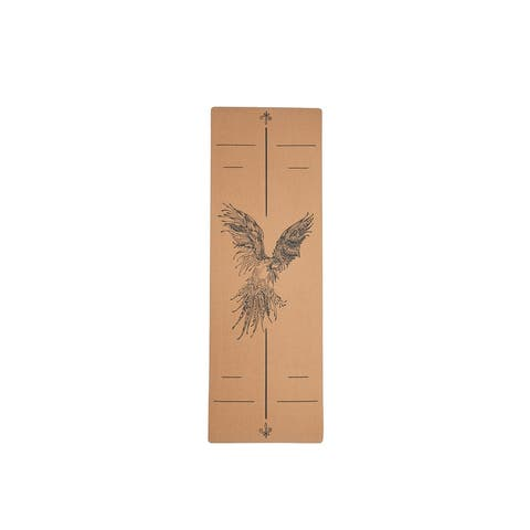 Moda Health and Fitness Extra Wide Eagle Pattan Cork Wood Yoga Mat