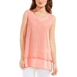 Two by Vince Camuto Womens Casual Top Slub Mixed Media