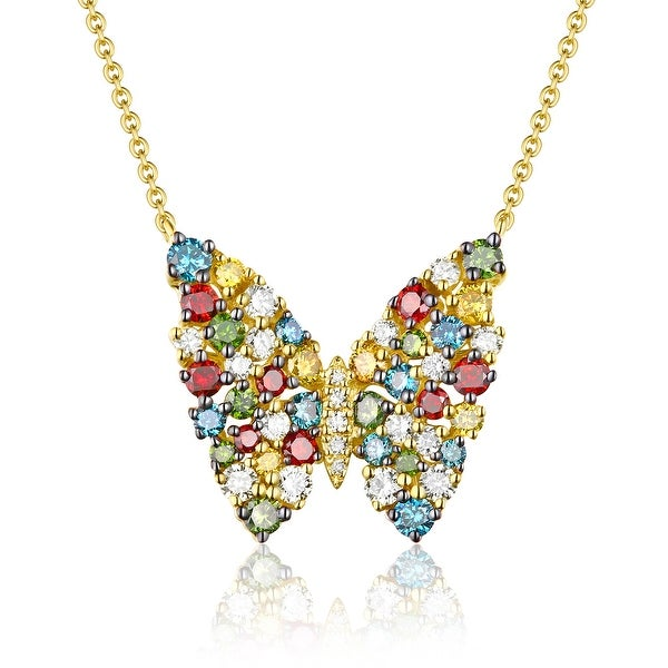 Butterfly Necklace, 1.20 TCW Round Cut G-H/SI1 Multi Color Diamond With White Diamond