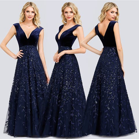 Ever-Pretty Womens Elegant V-neck Velvet Prom Dresses for Women 00851