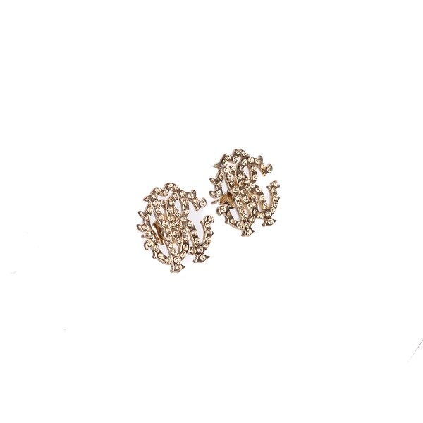 672437fe958 Shop Roberto Cavalli Women Gold Swarovski RC Logo Stud Earrings - Free  Shipping Today - Overstock - 23444482