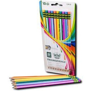 Neon Stripes - Ticonderoga Presharpened Neon Stripes #2 Pencils 10/Pkg
