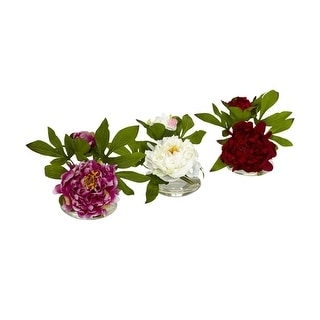 Nearly Natural Peony with Glass Vase Arrangement - Set of 3 - orted