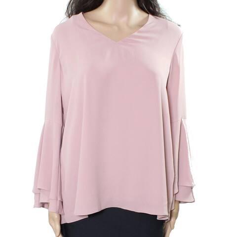 Alfani Women's Shirt Beige Size 8 V-Neck Poet Hi-Lo Bell Sleeve Blouse