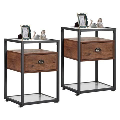 VECELO 1-Drawer Bedside Tables Nightstand(Set of 2)
