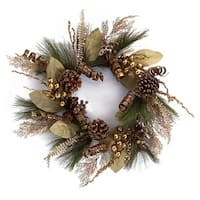 "24"" Brown and Gold Mixed Foliage Pine Cone, Berries and Ribbon Artificial Christmas Wreath"