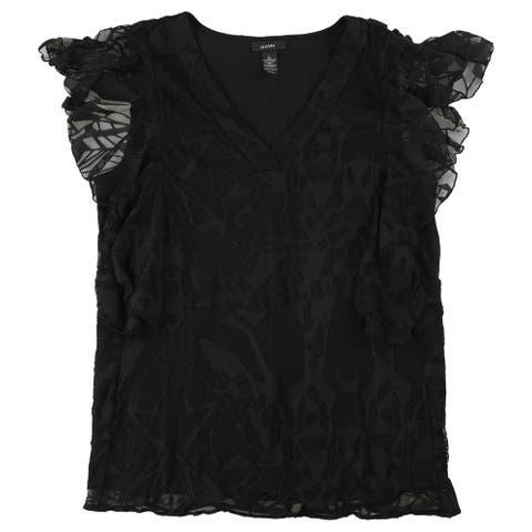 Alfani Womens Burnout Knit Blouse, black, Large