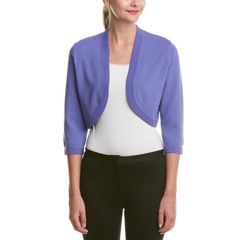 Anne Klein Womens Knit Ribbed Trim Cardigan Top Purple L - Large