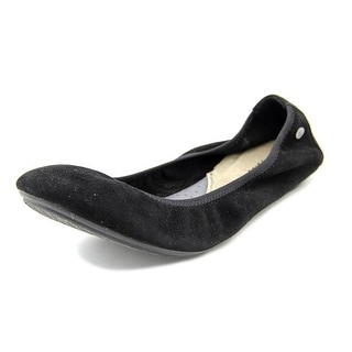 Hush Puppies Chaste Women Round Toe Suede Black Ballet Flats