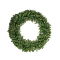 "24"" Pre-Lit Northern Pine Artificial Christmas Wreath - Clear Lights - green"