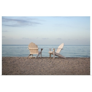 """""""Two adirondack chairs on the beach"""" Poster Print"""