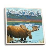 MT - Moose Drinking at Lake - LP Artwork (Set of 4 Ceramic Coasters)