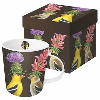 Wild & Wooly Coffee Mug - Vicki Sawyer 13.5 oz. Bone China Cup - Goldfinch Couple