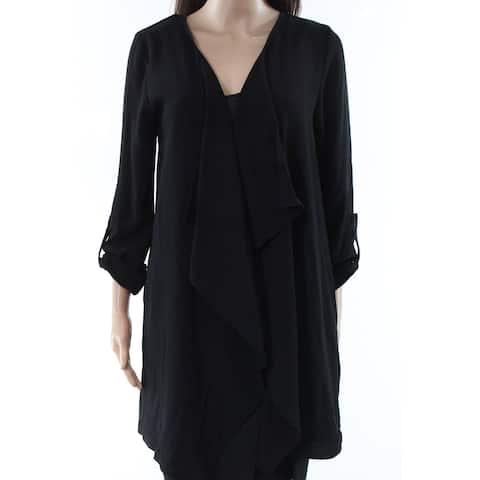 Olivia Pratt Black Womens Size Small S Draped Cardigan Sweater
