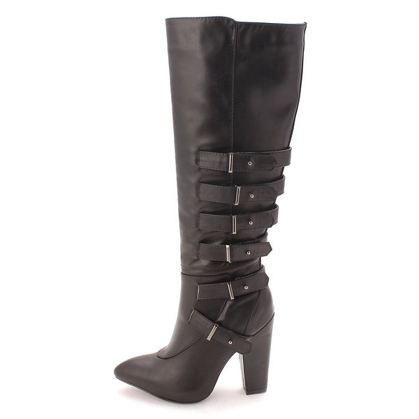 Just Fab Womens JF HARLEY Closed Toe Mid-Calf Fashion Boots - 6