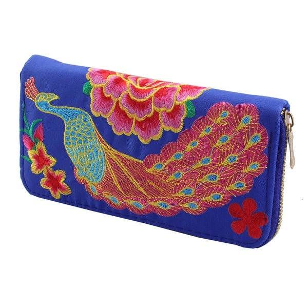Ladies Embroidered Flower Peacock Design Zipper Closure Card Coin Holder Purse