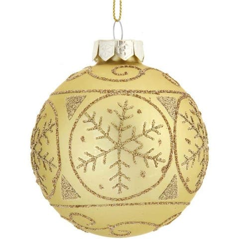 Kurt Adler 80MM Gold with Gold Snowflakes Glass Ball Ornaments, 6-Piece Set