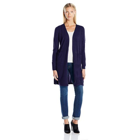 Sag Harbor Women's Long Sleeve Open Carcoat Duster, Notable Navy, Size Medium