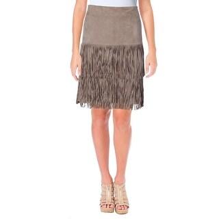 Lauren Ralph Lauren Womens Jacey Straight Skirt Suede Tiered