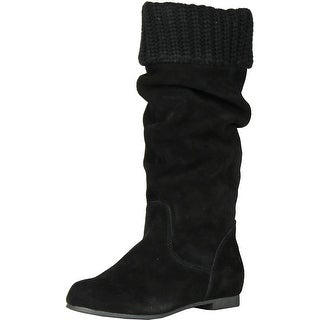 Steve Madden J-Cyber Sweater Cuff Boots - Black Suede - 13 m us little kid