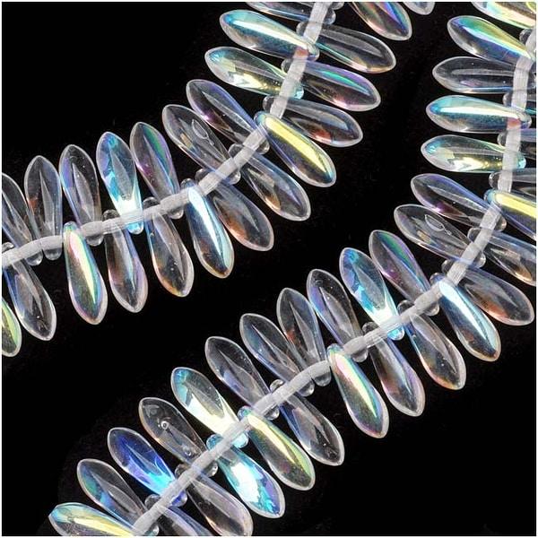 Czech Glass 3 x 10mm Dagger Spear Beads 'Crystal AB' (50)
