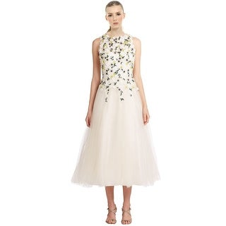 Teri Jon Floral Embroidered Applique Tulle Cocktail Dress - 14