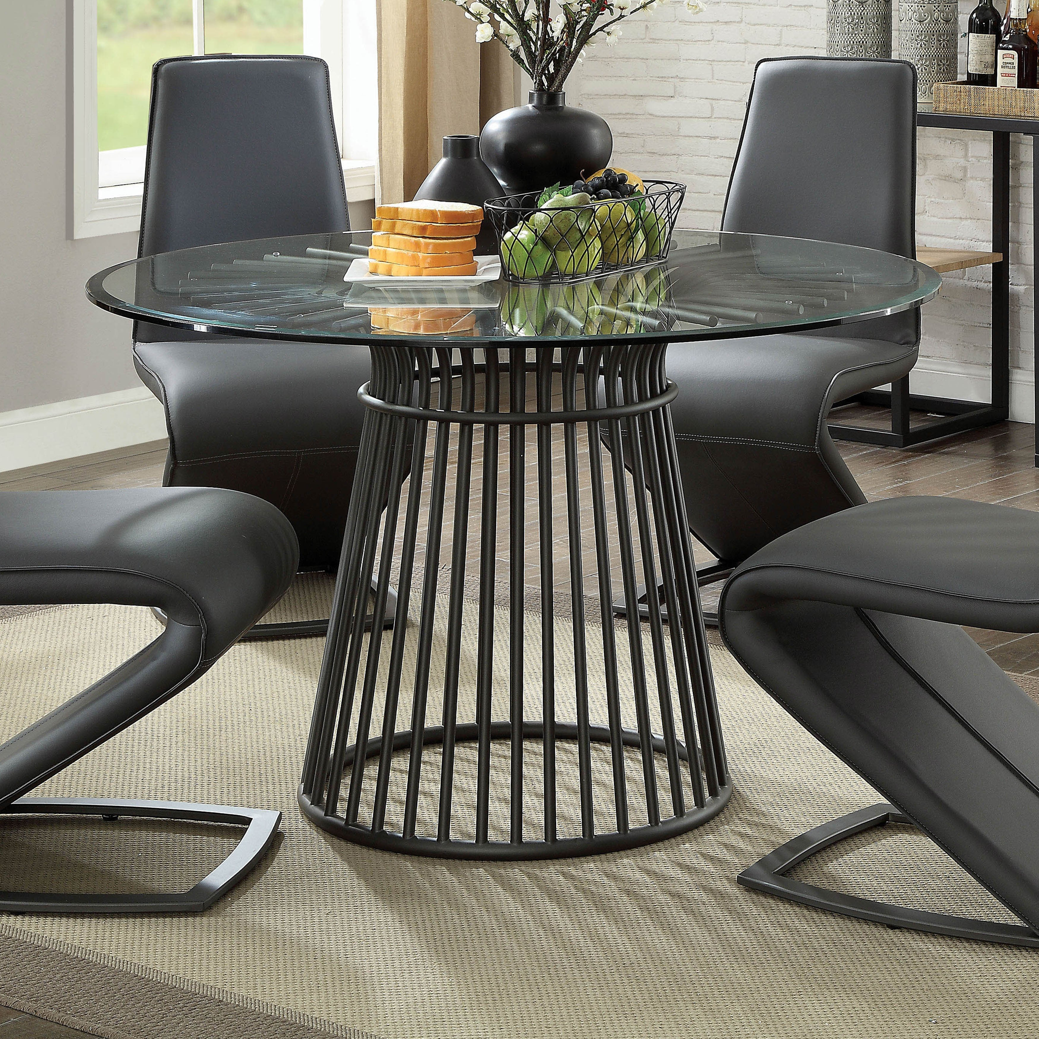 Furniture Of America Gamm Modern Black 48 Inch Round Dining Table Overstock 21177625