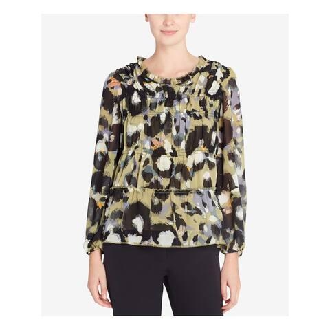 CATHERINE MALANDRINO Womens Green Printed Long Sleeve Jewel Neck Top Size: S
