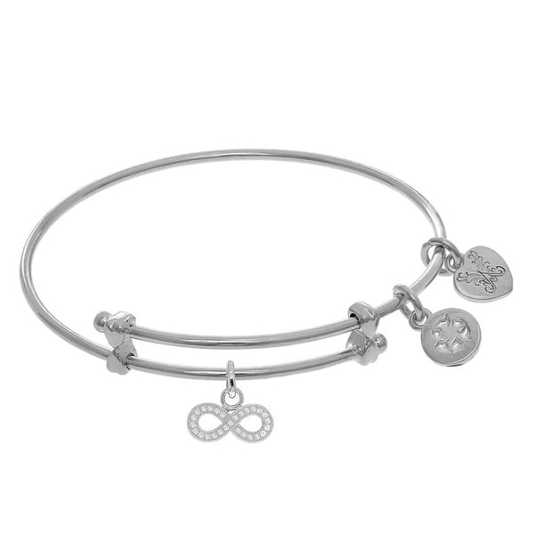 Brass White Finish Infinity Cubic Zirconia Charm On White Angelica Collection Tween Bangle
