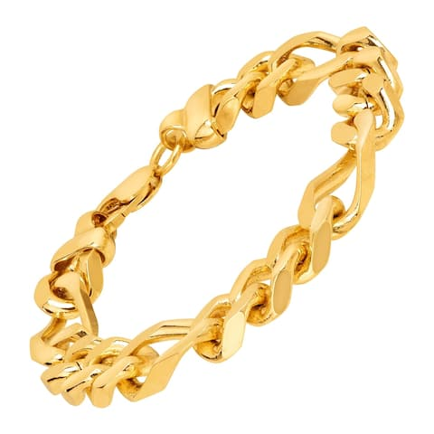 Solid Figaro Link Bracelet in 18K Gold-Plated Bronze, 8.5""
