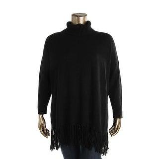 Lauren Ralph Lauren Womens Plus Fringe Knit Turtleneck Top