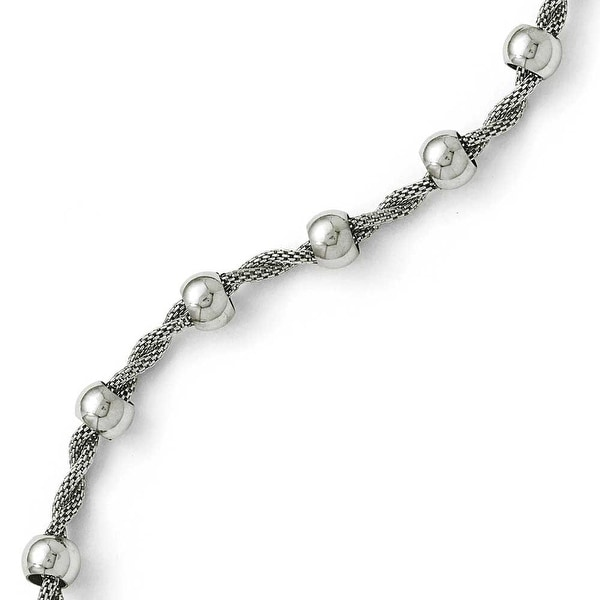 Chisel Stainless Steel Polished Beaded and Twisted Bracelet