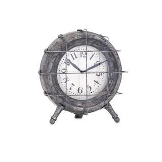 9 Smoky Gray Weathered Ella Elaine Metal Table Clock