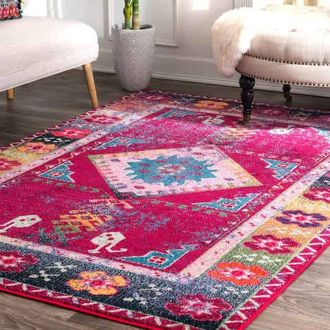 nuLOOM Purple Bohemian Tribal Festival Summer Chic Faded Border Area Rug