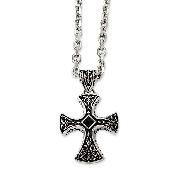 Stainless Steel Black Agate & Antiqued Cross Pendant 24in Necklace (5 mm) - 24 in