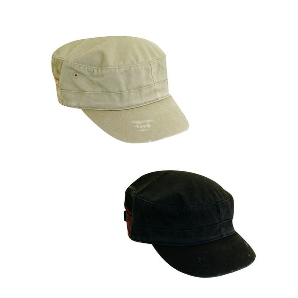 Dorfman Pacific Cotton Distressed Military Cadet Cap (Pack of 2)