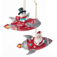 Kurt Adler Santa and Snowman Rocket Ornaments Mid Century Style Set of 2