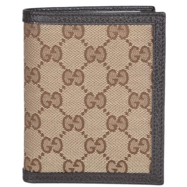 "Gucci 292533 Men's Beige Canvas GG Guccissima Vertical Bifold Wallet - Brown - 3 7/8"" x 4 3/4"""