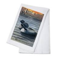 Lake Koshkonong, Wisconsin - Loons - LP Artwork (100% Cotton Towel Absorbent)