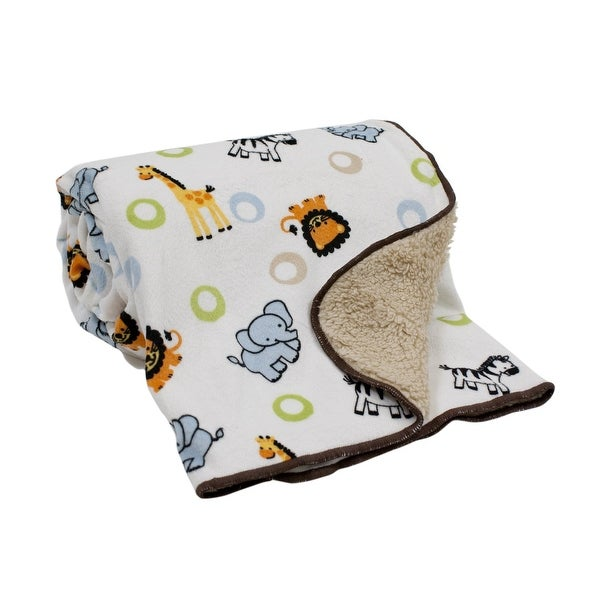 9adc01637dc2 Shop Bedtime Originals Jungle Buddies White Brown Blue Green Safari Animal  Sherpa Baby Blanket - Free Shipping On Orders Over  45 - Overstock -  23613515