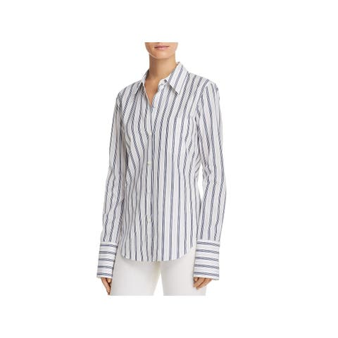 Theory Womens Atticus Button-Down Top Striped Slim Collar