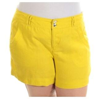 INC Womens Yellow Straight leg Short Size: 16