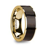 SYMEON Men's Polished 14k Yellow Gold Flat Wedding Ring with Ebony Wood Inlay - 8mm