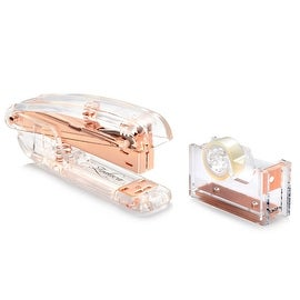 Insten 2-piece Set Clear/ Rose Gold Acrylic Mini Stapler/ Mini Tape Dispenser Stationary Combo Pack